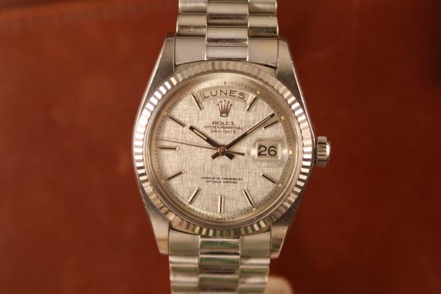 rolex 1803 white gold linen dial
